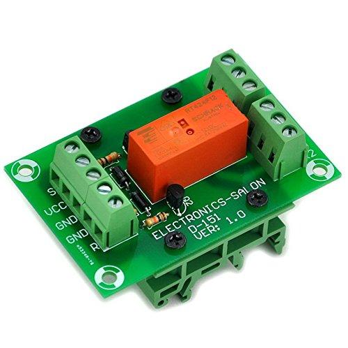 Electronics-Salon Module de relais de puissance DPDT à 8 ampères bistable / verrouillable, bobine DC12V, avec pieds de rail DIN
