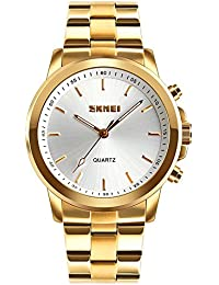 SKMEI 1324 30m Waterproof Chronograph Analog Smart Watch Gold Colour Functions -Fitness And Sport Activity Trackers...