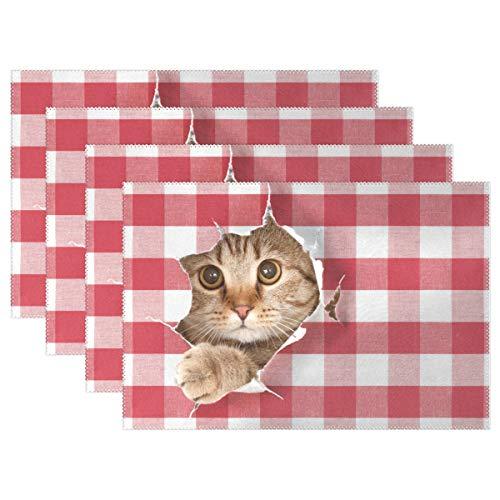 XiangHeFu Tischsets Katze suchen Plaid Muster 12 x 18 Zoll hitzebeständige 4er-Set rutschfest für Esstisch -