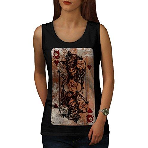 gotisch Herz Königin Poker Dame Damen S-2XL Muskelshirt | Wellcoda Schwarz