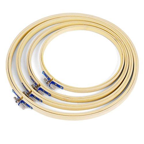 Veewon 4-Ring-Rund'aus natürlichem Bambus aus Holz Stickerei Kreuzstich-Rahmen