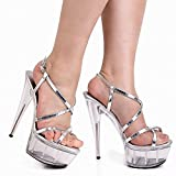 Women S High Heeled Shoes Sequins Showcases 20cm Pole Dance Temperament Dance Sandals , white , 46