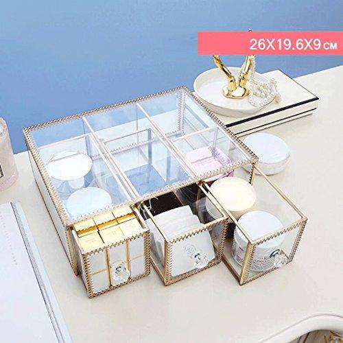 UOMUN Étui de Maquillage Boîte de rangement cosmétique en verre transparent de grande capacité 3 Gird étanche à la poussière de clamshell soins de la peau avec couvercle femmes non-acrylique bureau commode or cadre cadeau