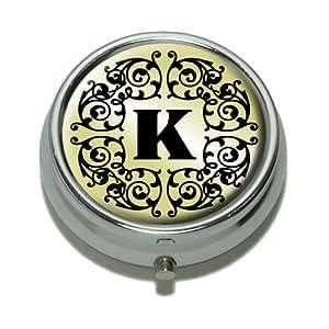 Letter K Initial Black White Tan Pill Case Trinket Gift Box
