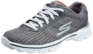 Skechers Women's Go Walk 3-Fitknit Go Walk 3-Fitknit Charcoal Mesh Walking Shoes - 6 UK/India (39 EU) (9 US)