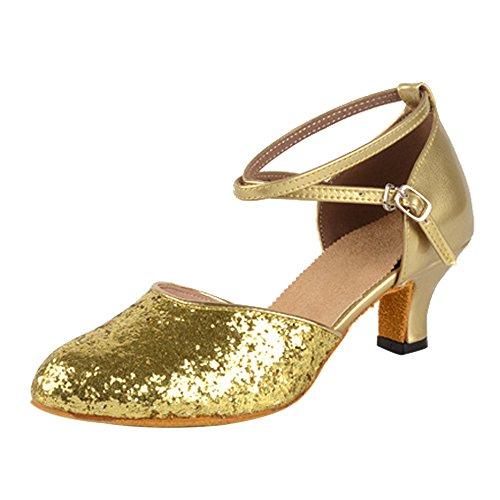 BOZEVON Damen Funkelnde Glitzer Heels Absatzschuhe Moderne Criss Cross Tanzschuhe, Gold, CN 36 (Fußlänge: 23 cm), Ferse 5.5 cm