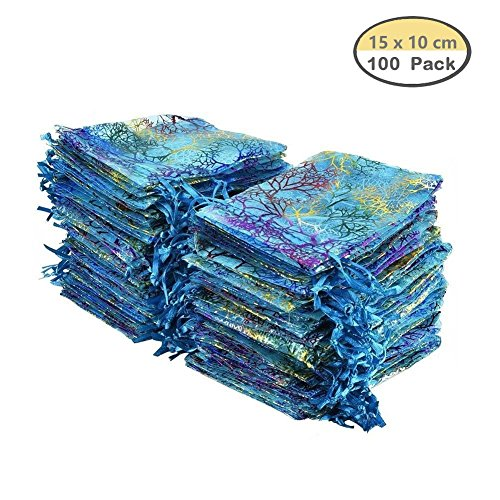 Golvery 100pezzi coralline modello sacchetti regalo in organza, con coulisse sacchetti sacchetti di gioielli, caramelle sacchetto di cioccolato della festa di nozze favor gift bag, 15x 9,9cm