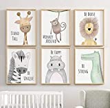 Nursery Safari Jungle Animal Print Set - Nursery Child's Wall Art Animal Pictures - SET of 3, 4 or 7 Nursery Decor With Inspirational Quotes