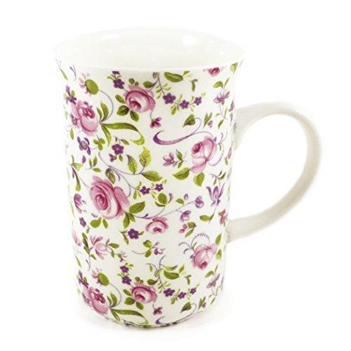 Fine English Bone China Mug - Pink Rose Floral Chintz