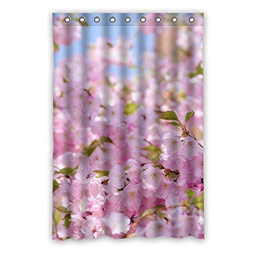 Once Young–Peach Blossom Wasserdicht Polyester Duschvorhang Nature Serie mit Lebhafte Farbe, hohe Qualität Stoff Duschvorhang Größe: 121,9x 182,9cm (120x 183cm), Polyester, K, 48