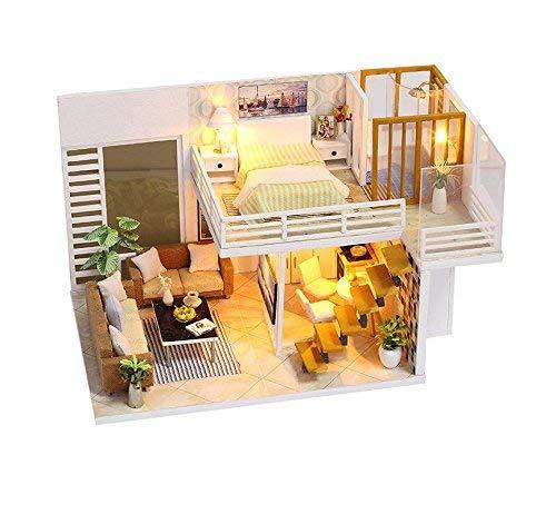 Spilay DIY Miniatur Puppenhaus Holzmöbel Kit,Handgemachte Mini Moderne Duplex-Modell mit Staubschutz & Spieluhr,Dollhouse Kreative Puppenhaus Spielzeug für Kinder Geschenk