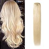 Komfami Remy Haarverlängerung Clip in Haarverlängerung Echthaar Echtes Haar 100 Gramm (40cm, No.613 Gebleichtes Blond)