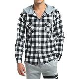 Chemise manches longues décontractée pour homme Sweatshirt à capuche d'hiver Sweat à capuche Chemise en flanelle à carreaux