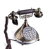 Camel Shopping Mall Telefon/Retro-Telefon Mit MetallgehäUse, Funktionalem WäHlrad Und Klassischer Metallglocke, Telefon Mit Druckknopf-Wahlschalter, Telefon Mit Kabelanschluss