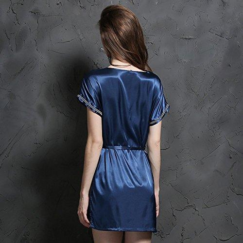 lpkone-Lingerie sexy ladies short sleeve fil de soie Soie chemises chemise de qualité élégant home service Free Size,Camel Navy Blue