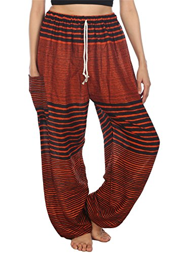 Lofbaz Pantaloni Coulisse da Donna Pavone Funky Floral Harem Pants Taglia Unica Streak Arancione