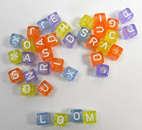 LOOM BANDS Bandz Kette Buchstaben Bastel Extras Ziffern Hashtag Alphabet Clips LB27 (35er Pack Color/Glas)