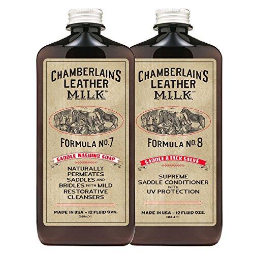 Chamberlain's Leather Milk - Nr. 7-8 - Set aus Sattelseife & Conditioner für Sattel- & Zaumzeug aus Leder - Naturbasis/ungiftig - ohne Farb- & Duftstoffe - Hergestellt in den USA - 2 Auftragepads