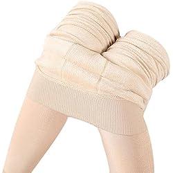 HARRYSTORE Mujer Pantalones elásticos leggings Mujeres invierno grueso cálido forrado traje láser térmico (Beige)