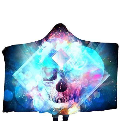 Snakell Kuscheldecke Flauschige Decke Bunter Halloween Skull Wohndecke Microfaser Flanell Decke Super Weiche Fleece Sofadecke Überwurfdecke für Kinder Kuschelige Reisedecke 100X140 cm
