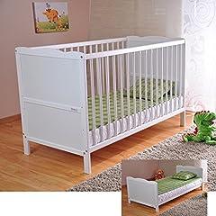 Idea Regalo - Bianco lettino di legno per bambini Materasso di lusso Aloe Vera Tre posizioni di altezza Sponda con gengivale
