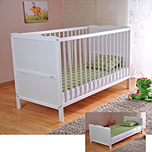 BABY Gitterbett Babybett Kinderbett mit Aloe Vera Schaumstoffmatratze Zahnschienen höhenverstellbar Weiß umbaubar zum…