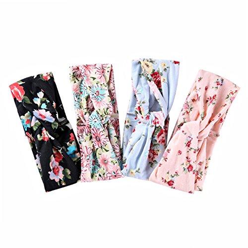 Ever Fairy® 4 Stück Damen elastische Blume gedruckt Stirnband ,Frauen Baumwolle gestrickte Verdrehte weiche Turban-Kopf-Verpackungs für Yoga oder Mode - Stirnbänder Für Blumen