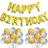 KUUQA Happy Birthday Balloon Banner Letras de oro Globo de pelíc