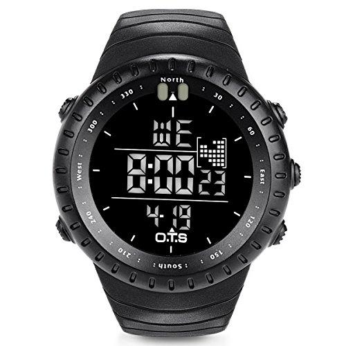 PALADA Sportuhr für Männer Elektronische Armbanduhr Schwarz Elektronische Uhr Multifunktionale Wasserdichte Militäruhr