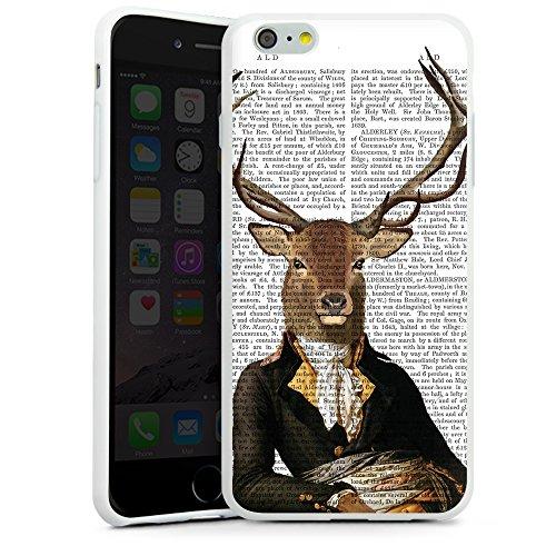 """artboxONE Handyhülle Apple iPhone 6 Plus, schwarz Downflip-Case Handyhülle """"Hirsch Leger Case"""" - Tiere - Smartphone Downflip Case mit Kunstdruck von FabFunky Silikon Case weiß"""