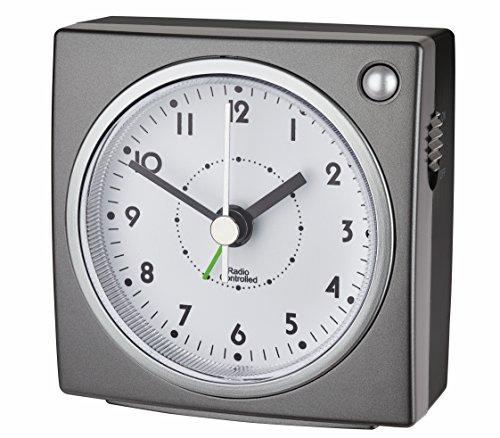 TFA Dostmann 60.1516 Funkwecker mit Hintergrundbeleuchtung (grau/Silber), Kunststoff (L) 77 x (B) 43 x (H) 78 mm