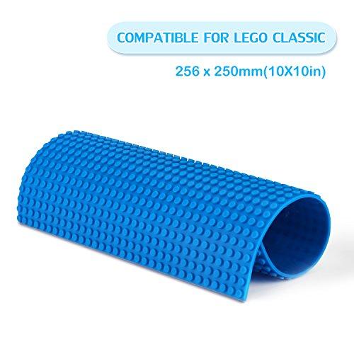 Fansteck Bauplatte für Classic Lego, Selbstklebende Große Bauplatte, Sillikon Grundplatte für Classic Bausteine 25.6 x 25 cm, mit Allem Großen Marken Kompatibel, Blau