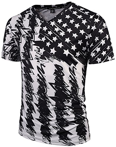 Pizoff Unisex Schmale Passform V-Ausschnitt T Shirts mit Bunt USA Sternenbanner flug 3D Digital Print Muster Y1781-03-XL (Jordan Flug Air)