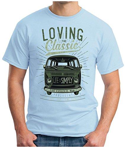 ... AUTO BUS CULT CARS GEEK, S - 5XL Hellblau. OM3 - LOVING-CLASSIC - T-Shirt  ORIGINAL OLDTIMER LIFE is SIMPLY PEACE KULT