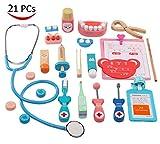 Mooyii Holzspielzeug Arzt Set Zahnarzt Kit für Kinder, lustige Zahnarzt vorgibt, Medical Suite Realistische Arzt Suite 21 Stück zu Spielen