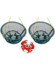 GLOW Set of 2 Crab Drop Nets with Spring Loaded Bait Holder 30cm Netting Trap with 11m of Rope and Plastic Bait Clip for Safe Family Kids Crabbing Catching Fish Prawn Crayfish Lobster