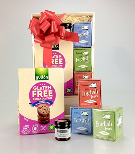 Hampers and gourmet gifts uk gluten free gluten free tea time treats hamper gift box teas jam biscuits birthday get well thank you gift negle Images
