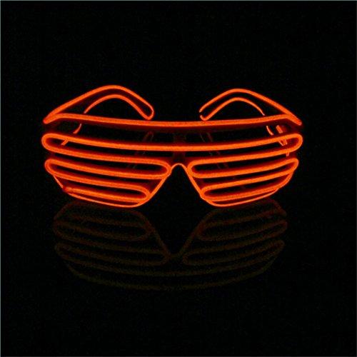 tende EL Wire Brille mit Batteriebetrieb und Modusänderung in Rot - DIE COOLE PARTYBRILLE Ideal für Junggesellenabschiede, Fasching, Karneval, Festivals, Halloween, Raves, Clubbesuche,... ()