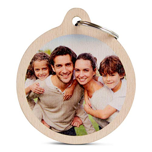 Wogenfels - Holz Schlüsselanhänger rund mit Foto | Das Geburtstags-Geschenk mit individueller Druck für Frauen und Männer | Personalisierter Schmuck - Buchen Geburtstag Meinen