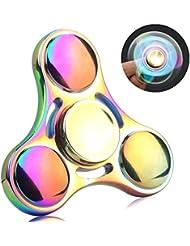 Zenoplige Fidget Spinner Rainbow Stainless Steel EDC Fidget Réducteur de stress pour les jouets Temps Killer Fingertip Gyro Hand Spinner Focus Jouet Jouet à doigts pour ADD, ADHD, Anxiété, ennui, Autisme Adultes Enfants