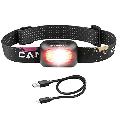 Canway Stirnlampe mit 5 CREE LED Kopflampe mit 9 Lichtmodi bis zu 210 Lumen USB Wiederaufladbare IPX5 Wasserdicht Kopfleuchten Stirnlampen mit Scheinwerfer Flutlicht und Rotlicht 1800mAh Batterie für