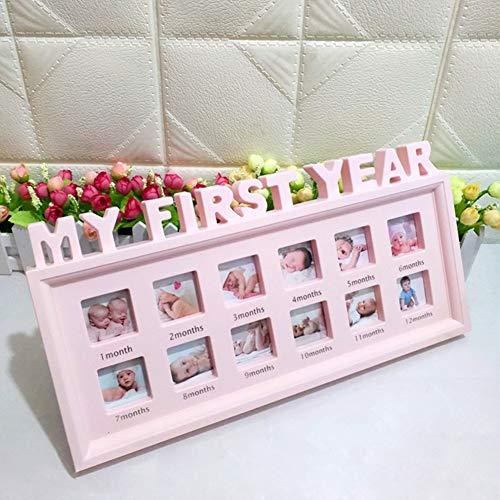 LNIMIKIY Bilderrahmen für 12 Monate, multifunktionales Bild mit Aufschrift My First Year, Dekoration für Mädchen, Jungen, Neugeborene, Baby, Schreibtisch, Säugling, PVC-Souvenirs - Schreibtisch Für Dekoration Mädchen
