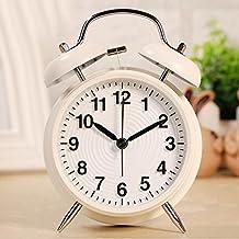 Doble Campanas Reloj despertador con luz nocturna, korostro Retro Campana Despertador analógico de cuarzo reloj despertador, Subir Alarma, silenciosa, 4 pulgadas de tres Dimensional welliges Esfera Grande - Blanco