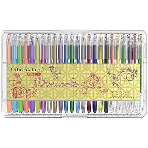 officematters 48 colores de Bolígrafos de Gel con Caja, 50% Tinta Más para Libros de colorear para adultos - (Brillo, Neón, Pastel,