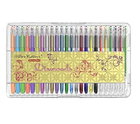 officematters 48 Gel Pens Set with Case, 50% More Ink
