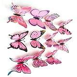 Resplend_Haushalt Aufkleber,Resplend 12pcs 3D Schmetterling Wandaufkleber Zimmer Dekor Wandsticker Kühlschrankmagnet Applique Wanddeko Kreativität Modisch DIY Entfernbar Wandtattoos (Rose)
