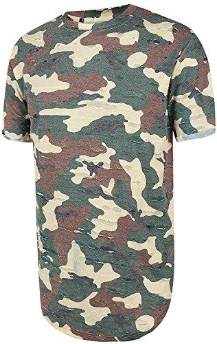 Pizoff HERREN Military T-Shir Sommer Tarnung CAMOUFLAGE lange zerrissen Loch Layered-Army Hip Hop unisex lässig Military T-shirt Y1727-38-L (Wolf T-shir)