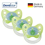 Dentistar® Schnuller 3er Set - Nuckel Silikon in Größe 1 von Geburt an, 0-6 Monate - zahnfreundlich & kiefergerecht - Beruhigungssauger für Babys - Frosch Grün