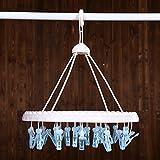 ELLANM Bastidores de secado multifuncionales, bragas de la ropa interior casera calcetines clips de plástico, 32 clips calcetines colgantes, 013