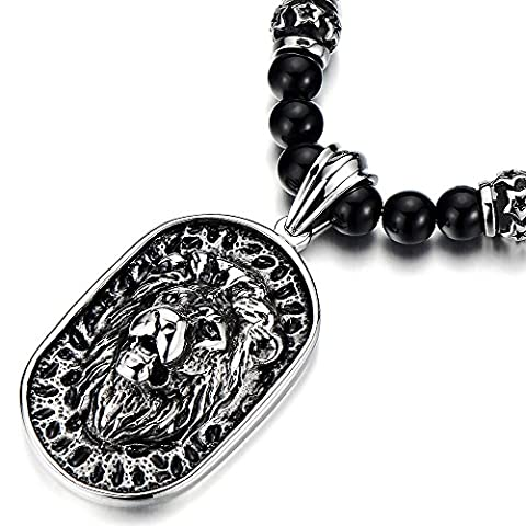 Gothic Style Mens Black Onyx Beads Necklace with Stainless Steel Lion Head Shield Pendant